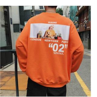 韓国ストリート バックガール オーバーサイズ パーカー トレーナー  オレンジ(トレーナー/スウェット)