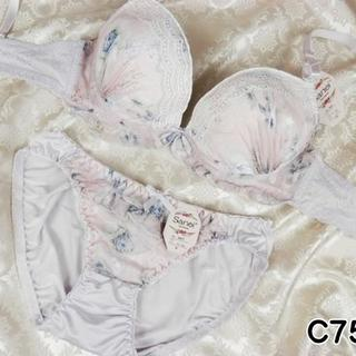 126★C75 M★美胸ブラ ショーツ Wパッド 花プリント 薄紫(ブラ&ショーツセット)