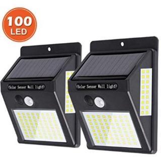★即日発送★ 2個組 人感 センサーライト 3面 100LED 防犯 自動点灯