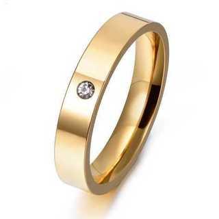 czダイヤモンド埋め込みステンレスリング(ゴールド) サイズ:11号(リング(指輪))