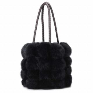 【新品】ファーバッグ ふわふわ ハンドバッグ 2way ブラック(ハンドバッグ)