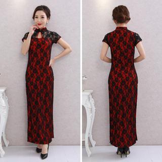■大きいサイズ チャイナドレス スリット セクシ レース ドレス レッド(ロングドレス)