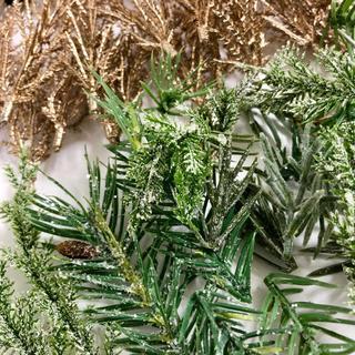 ハンドメイドに スノーフレーク付きの造花のモミとゴールドのモミ 東京堂(その他)