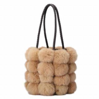 【新品】ファーバッグ ふわふわ ハンドバッグ 2way ブラウン(ハンドバッグ)
