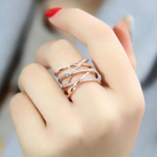 シルバー925 18金 コーティング 編み デザイン リング k18 18k(リング(指輪))