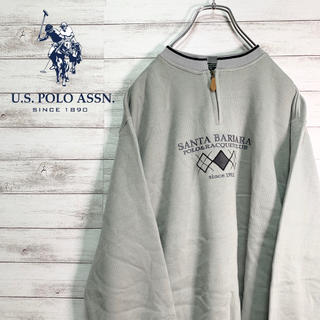 ポロクラブ(Polo Club)の【大人気】ポロクラブ スウェット ハーフジップ デカロゴ 刺繍ロゴ グレー(スウェット)