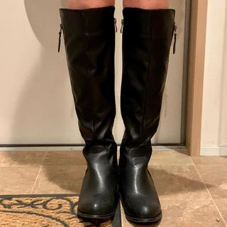 レディース  ブーツ ロングブーツ 美品 ブラック レザー 靴 革