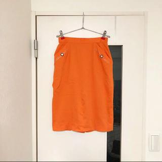 オレンジ スカート(ひざ丈スカート)