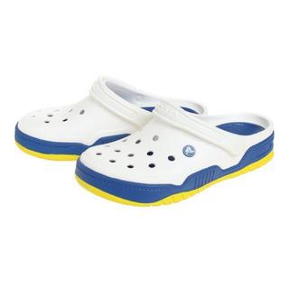 クロックス(crocs)のクロックス 23cm ホワイト ブルー イエロー フロントコート クロッグ(サンダル)