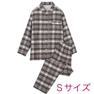 MUJI (無印良品) - 無印良品『脇に縫い目のないフランネルパジャマ(ブラウン×チェックSサイズ)』