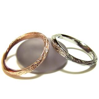 ハワイアン リング ゴールド プルメリア ペア ホヌ 記念日ピンクゴールド9号(リング(指輪))