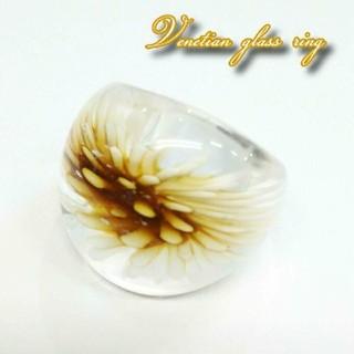 VR25 18号サイズ フラワー ベネチアガラス ベネチアリング 指輪(リング(指輪))