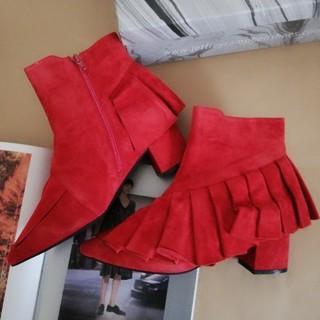 ジェフリーキャンベル(JEFFREY CAMPBELL)のジェフリーキャンベル♡新品未使用♡フリルスウェードショートブーツ(ブーツ)