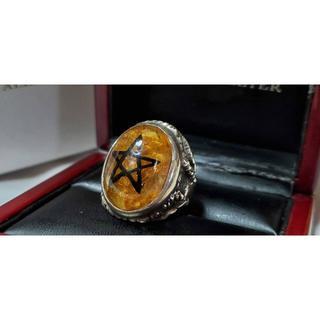 正規限定 アレックスストリーター 五芒星黒エンジェルハートリング クラック 12(リング(指輪))