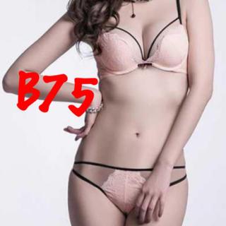 新品 キューモモ B75 ブラ ショーツ セット レース ピンク