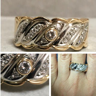 K18/Pt900 しっかりしたつくりのダイヤモンドリング(リング(指輪))