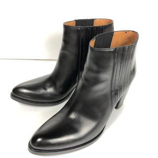 サルトル(SARTORE)の38 SARTORE サイドゴア ショート ブーツ 黒 サルトル 24.5(ブーツ)
