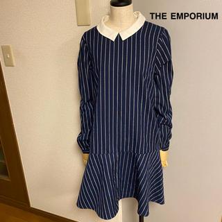 THE EMPORIUM - 【THE EMPORIUM】ジエンポリアム ペプラム ストライプ ワンピース