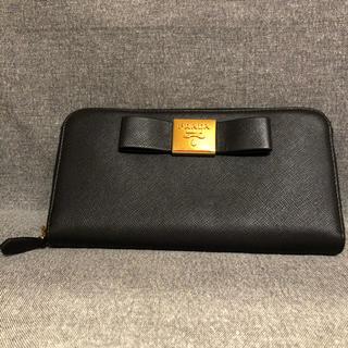 PRADA - プラダ 長財布 ファスナー リボン 極美品