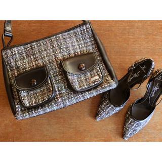 ギンザカネマツ(GINZA Kanematsu)の格安!! 銀座かねまつ ツイード バッグ&パンプス23.5 set♪靴シューズ(ハイヒール/パンプス)