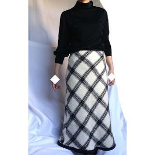 ロキエ(Lochie)の美品 フィガロ FIGRO チェック スカート あったか ウール チェック柄(ひざ丈スカート)
