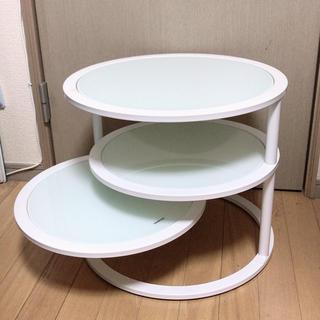 Francfranc - 可動式 丸テーブル / サイドテーブル ホワイト