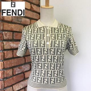 FENDI - 定価12万/美品☆フェンディ☆ ニットポロシャツ☆ZUCCA柄☆ベージュ系