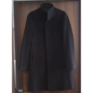 COMME CA MEN - 美品 コムサメン ステンカラーコート 黒 ブラック スーツに合わせるコート