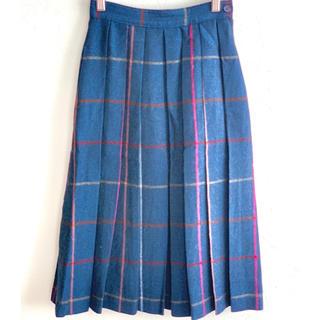 (7号)ウール100%ミディ丈プリーツスカート(ひざ丈スカート)