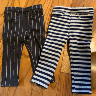 フタフタ(futafuta)の暖かパンツ 裏起毛 長ズボン 60〜70 futafuta ボーダー グレー(パンツ)