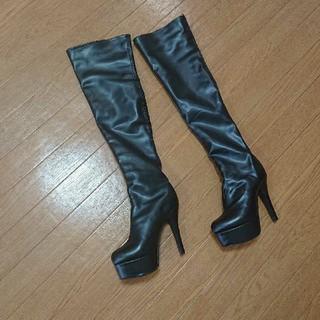 厚底 オーバーニー ストレッチ ブーツ 黒(ブーツ)