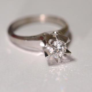 立爪1粒ダイヤモンド pt900 結婚指輪 リング 0.47ct