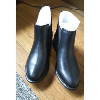 レザー サイドゴア ショートブーツ 22.5 Sサイズ 黒(ブーツ)