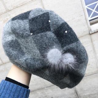 ANTEPRIMA - アンテプリマ♡チェック柄 ニット ベレー帽♡ミンク