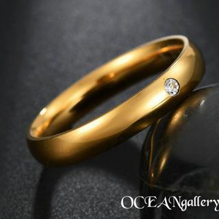送料無料 14号 ゴールドサージカルステンレススーパーCZシンプル甲丸リング指輪(リング(指輪))