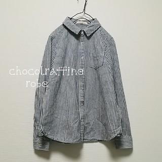 chocol raffine robe - chocolraffine robe ストライプ 綿 ネル シャツ