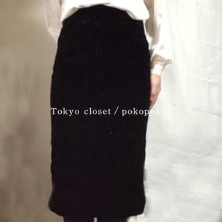 グリモワール(Grimoire)の美品 ブラック 肉厚 とろみ ベロア ベルベット スカート(ひざ丈スカート)