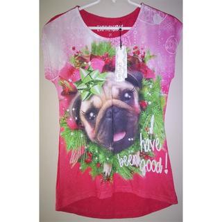クリスマス🎄リース柄★パグ犬★ノースリーブシャツ