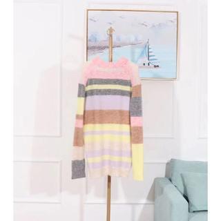 アクネ(ACNE)のACNE Kalbah Moh multi sweaterモヘア混ストライプセー(ニット/セーター)