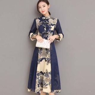 Lサイズ 綿のチャイナドレス ワンピース