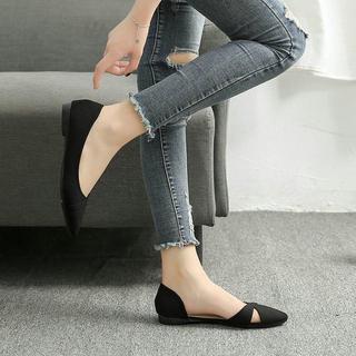 フラットシューズ 25.5cm ポインテッドトゥ パンプス ペタンコ 婦人靴(スリッポン/モカシン)