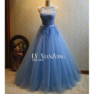 ウエディングドレス 薄青 ノースリーブ ソフトチュール フレアスカート イブニン