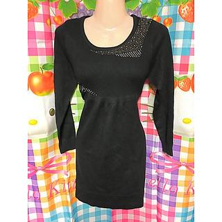 レディースオシャレミニスカート伸縮素材ワンピース黒ブラック長袖スタイリッシュ細身