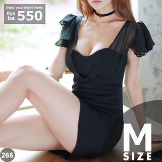 キャバドレス 266B 黒 タイト ミニ ドレス フリル シフォン S-M-L