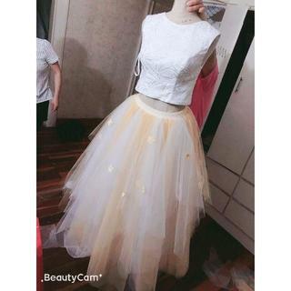 セパレート カラードレス  ウエディングドレス  ノースリーブ ちらお花びら