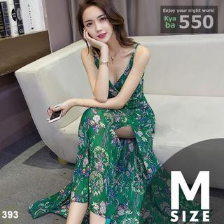 キャバドレス 393G グリーン 花柄 ロングドレス ノースリーブ M