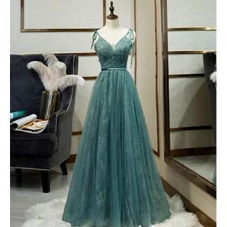 高品質! イブニングドレス 深めな緑 ソフトチュール キャミソール