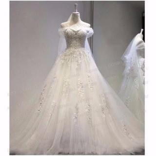 美品! ウエディングドレス ハンドビーディング 高級刺繍 トレーン