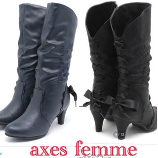 アクシーズファム(axes femme)のアクシーズファム◆バックリボンレースアップブーツ◆リズリサシャーリーテンプル (ブーツ)