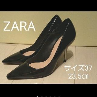 ZARA - ZARA(ザラ)黒エナメルパンプス・23.5㎝
